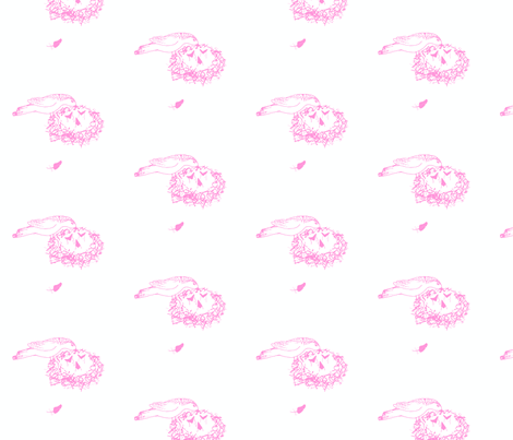 bird_feeding_chicks_pink_on_white fabric by freespirit2012 on Spoonflower - custom fabric