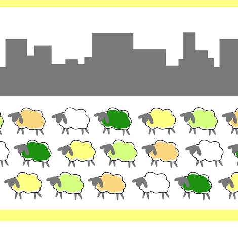 impossible sheep in the city fabric by mojiarts on Spoonflower - custom fabric