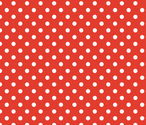 pois_blanc_fond_orange_M fabric by nadja_petremand on Spoonflower - custom fabric