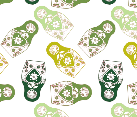 poupée_russe_twist_vert_fond_blanc_L fabric by nadja_petremand on Spoonflower - custom fabric