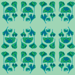 Gingko Leaves-teal/green