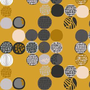 afro circles mustard