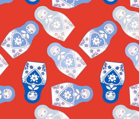 poupée_russe_twist_bleu_fond_rouge_L fabric by nadja_petremand on Spoonflower - custom fabric