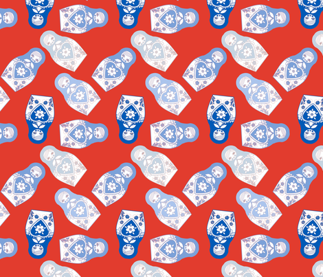 poupée_russe_twist_bleu_fond_rouge_M fabric by nadja_petremand on Spoonflower - custom fabric