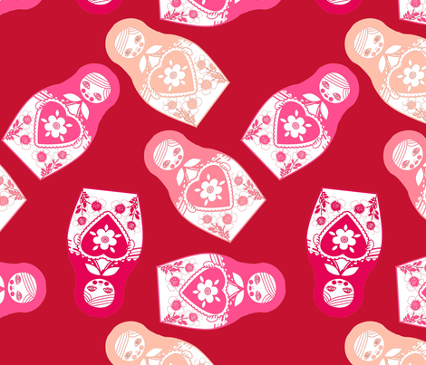 poupée_russe_twist_rose_fond_rouge_L fabric by nadja_petremand on Spoonflower - custom fabric
