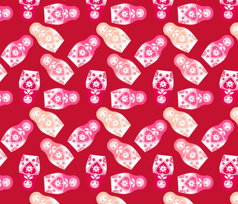 poupée_russe_twist_rose_fond_rouge_M fabric by nadja_petremand on Spoonflower - custom fabric