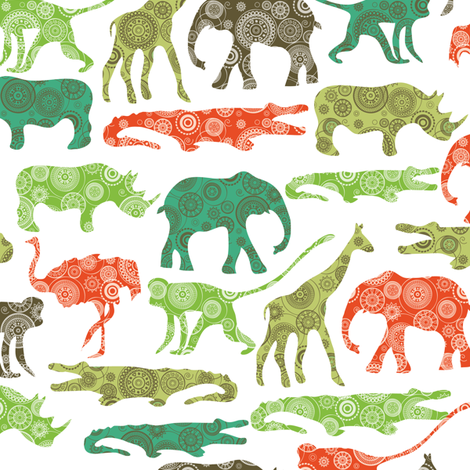 African animals fabric by ebygomm on Spoonflower - custom fabric