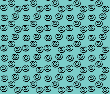 Teal Swirls Companion fabric by aftermyart on Spoonflower - custom fabric