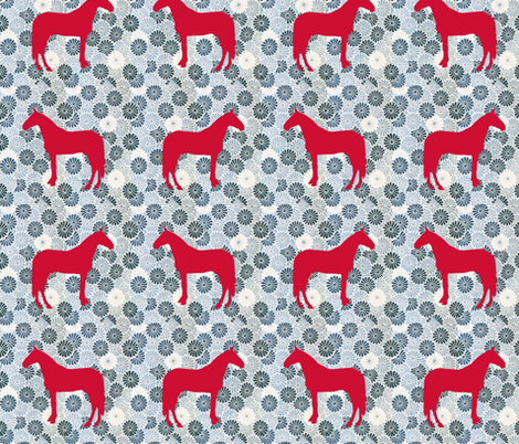 bluefloralhorse fabric by ragan on Spoonflower - custom fabric