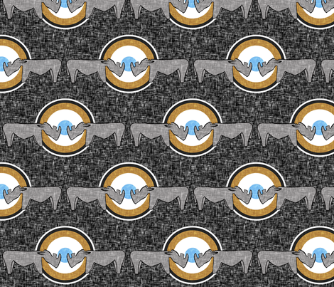 Two rhinos approach a salt-encrusted waterhole fabric by su_g on Spoonflower - custom fabric