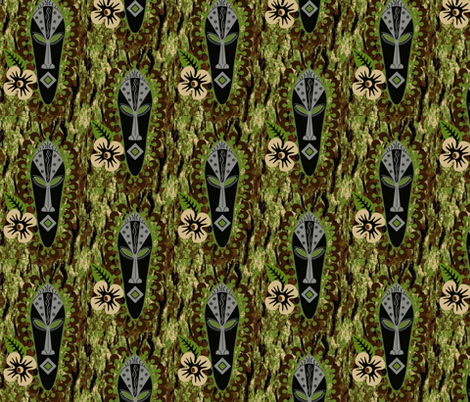 african mask / floral fabric by paragonstudios on Spoonflower - custom fabric