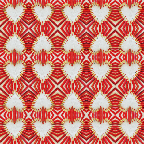 Red pencil heart fabric by greennote on Spoonflower - custom fabric