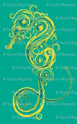 Seahorse7-teals/yellows