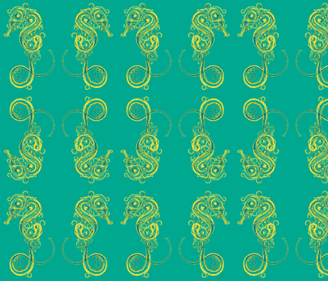 Seahorse7-teals/yellows fabric by guylas_coastal_creations on Spoonflower - custom fabric