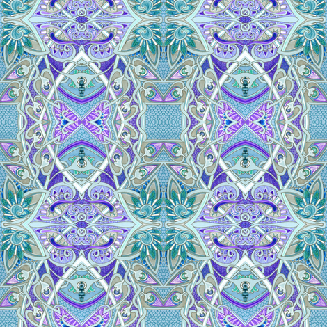 Relaxing on a Quiet Friday Evening (a cool color pastel abstract) fabric by edsel2084 on Spoonflower - custom fabric