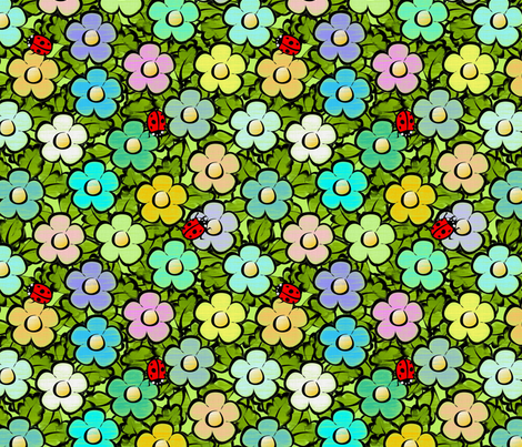happy_garden_large fabric by glimmericks on Spoonflower - custom fabric