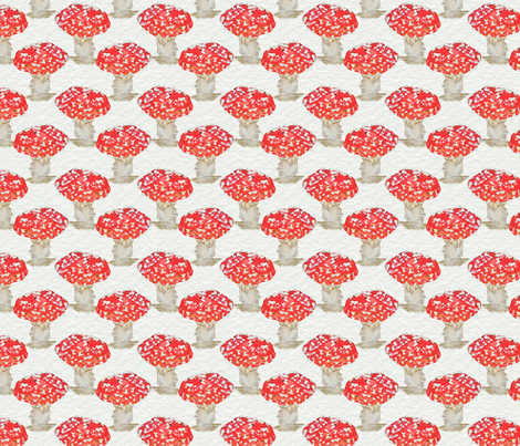 Mushrooms in Red fabric by jenniferpitchers on Spoonflower - custom fabric