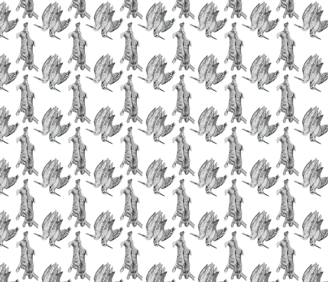 Rabbits and Woodcocks fabric by jenniferpitchers on Spoonflower - custom fabric