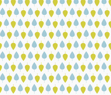 Blue and yellow leaves fabric by cine on Spoonflower - custom fabric