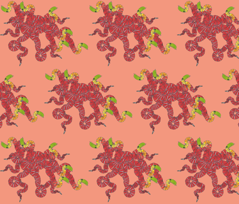 nest_of_snakes_salmon_bkgrd fabric by chiara_g on Spoonflower - custom fabric