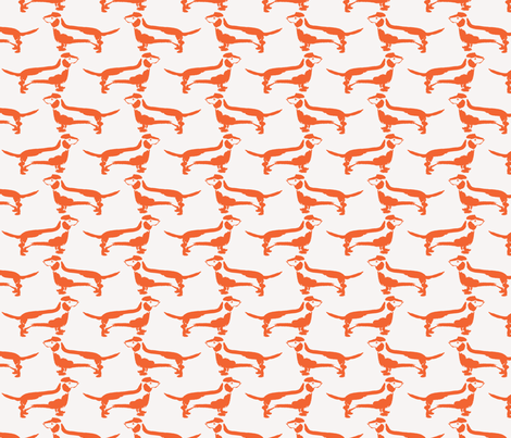 Dachshund in Orange fabric by jenniferpitchers on Spoonflower - custom fabric