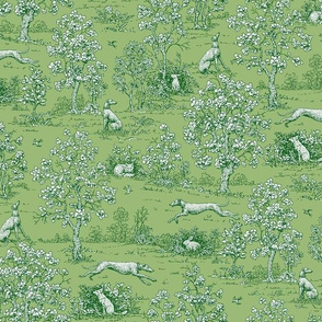 Green on Green Toile with greyhounds - coordinate