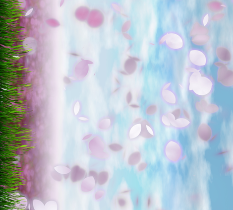 Sakurama - Sky, Cherry petals, flower field and grass - border