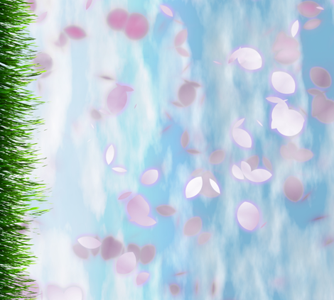 Sakurama - Petal storm with grass - border fabric by bonnie_phantasm on Spoonflower - custom fabric