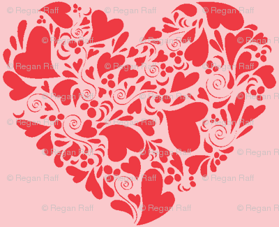 Valentine Hearts-coral and pink