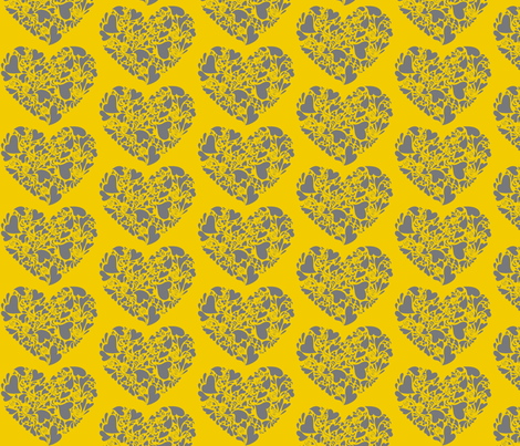 Valentine Hearts-gray and mustard fabric by reganraff on Spoonflower - custom fabric