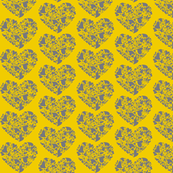 Valentine Hearts-gray and mustard