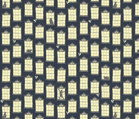 Night Window Cats fabric by glimmericks on Spoonflower - custom fabric