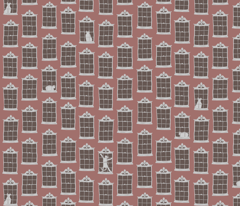 window cats - brick madder fabric by glimmericks on Spoonflower - custom fabric