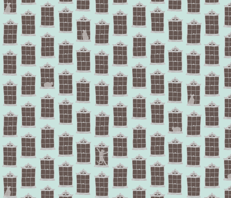 window cats - robin_egg_blue fabric by glimmericks on Spoonflower - custom fabric
