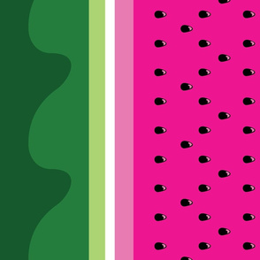 Bright Watermelon border print fabric