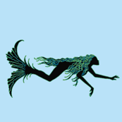 Swimming Mermaid-blue