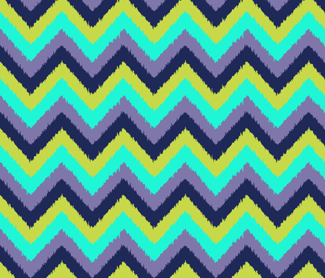ikat peacock chevron fabric by katarina on Spoonflower - custom fabric