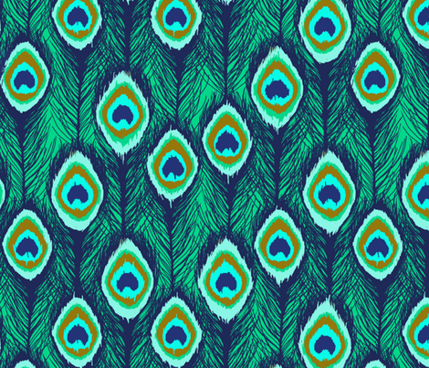feathers ikat emerald green fabric by katarina on Spoonflower - custom fabric