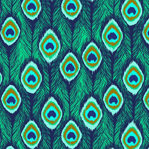 feathers ikat emerald green