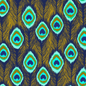 peacock feathers ikat gold