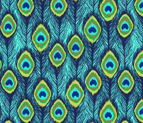 ikat aqua peacock feathers fabric by katarina on Spoonflower - custom fabric