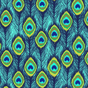 ikat aqua peacock feathers