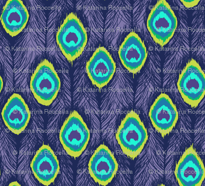 ikat peacock  feathers purple