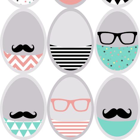 Easter mustache geek eggs - cut and sew fabric by katarina on Spoonflower - custom fabric