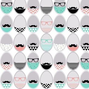 Easter mustache geek eggs - cut and sew
