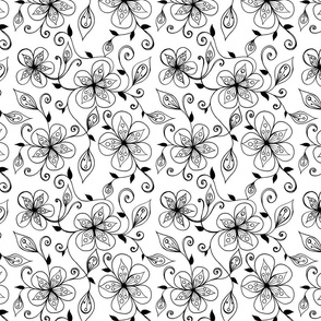 Black and White Flowers and Swirl Vines Repeating