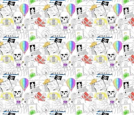 Literary figures colour fabric by raccoonhedgehog on Spoonflower - custom fabric