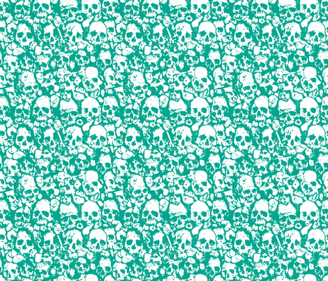 Skull Wall Emerald fabric by ben_goetting on Spoonflower - custom fabric