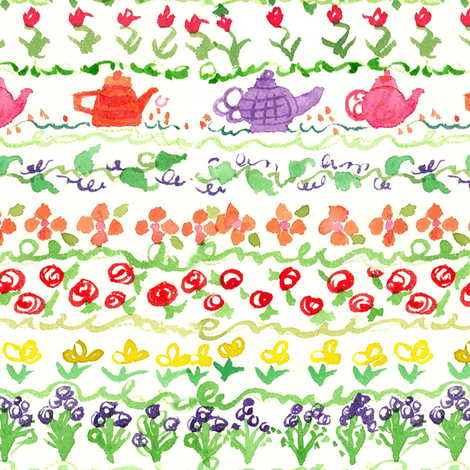 Teapot Flower Sampler fabric by countrygarden on Spoonflower - custom fabric