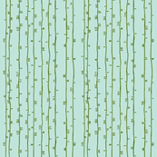 stems in green on aqua